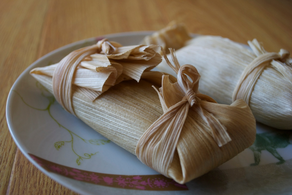 Guava-Cheese Tamale: Filled with Vegan Cream Cheese, Daiya & Guava Paste.