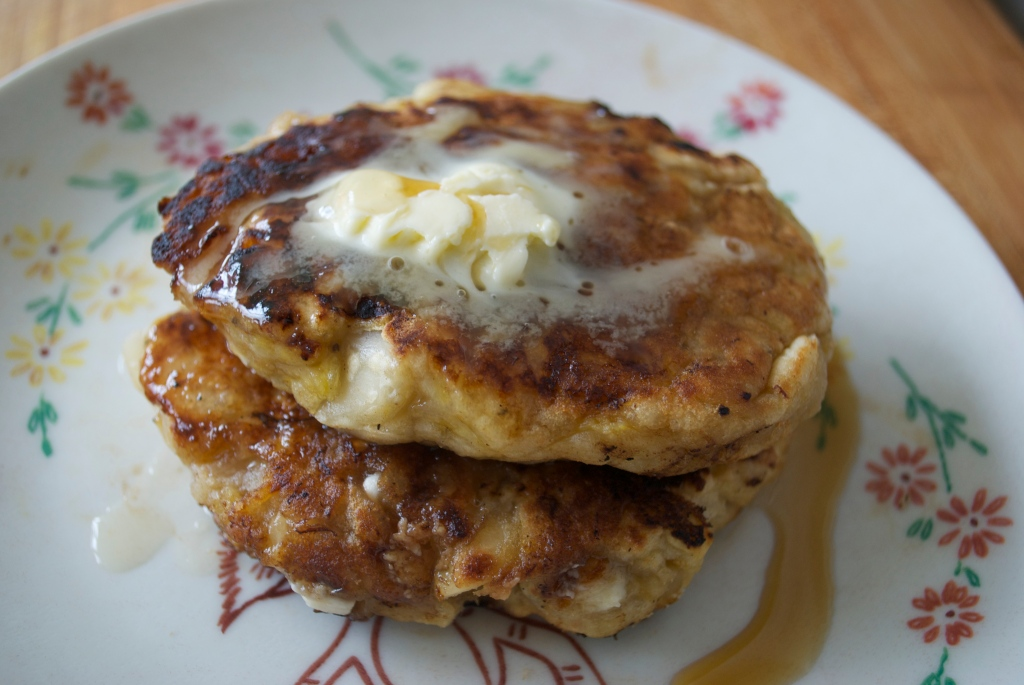 Vegan Apple Banana Pancakes w/ White Chocolate Chips & Macadamia Nuts.
