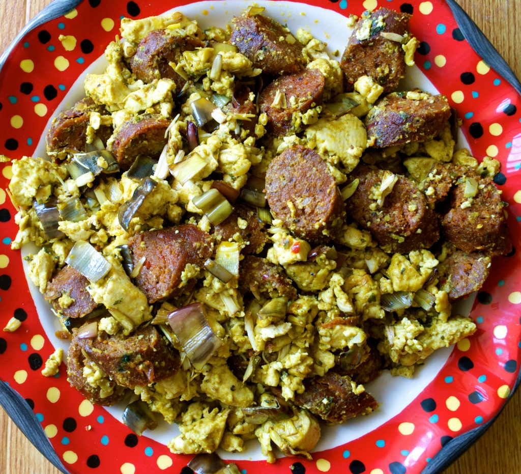 Tofu Scramble w/ Banana Blossoms and Field Roast Linguiça (Chipotle Field Roast Sausages rolled in Paprika, Garlic and Baked in Banana Leaves)